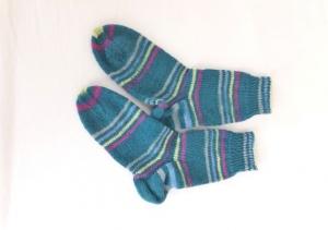 Wollsocken in Größe 32/33 handgestrickt geringelt mit rosa, gelb, hellblau und grau  für Mädchen und Jungen - Handarbeit kaufen