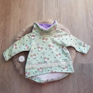 Pullover mit Loopkragen * Tunika * mint * Mäuse * Gr.68 * Unikat * Sweat * lila - Handarbeit kaufen