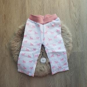 Hose * Musselin * weiß * rosa Einhörner * Gr.68 * Unikat - Handarbeit kaufen