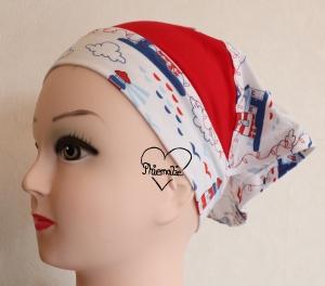 Sommerkopftuch * Sonnenhut * Mütze * Maritim * rot * weiß * blau * Leuchtturm * 51-56cm * Jersey - Handarbeit kaufen