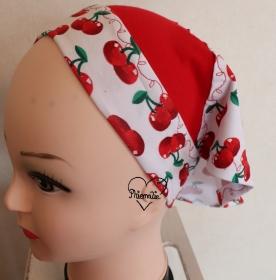Sommerkopftuch * Sonnenhut * Mütze * weiß * rot * grün * Kirschen * 51-56cm * Unikat * Jersey - Handarbeit kaufen
