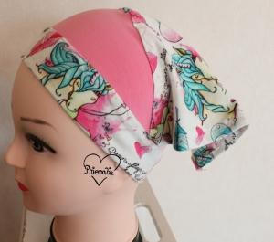 Sommerkopftuch * Sonnenhut * Mütze * Einhorn * rosa * bunt * 51-56cm * Unikat * Jersey - Handarbeit kaufen