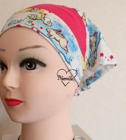 Sommerkopftuch * Sonnenhut * Mütze * Einhorn und Hase * pink * bunt * 51-56cm * Unikat * Jersey - Handarbeit kaufen