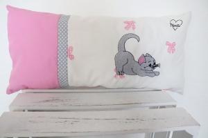 Kissen * Katze * Taufe * Schleife * Punkte * Geburt * weiß * rosa  * Baumwolle - Handarbeit kaufen
