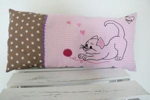 Kissen * Katze * Sterne * Geburt * Taufe * braun * rosa kariert * bestickt * Baumwolle - Handarbeit kaufen