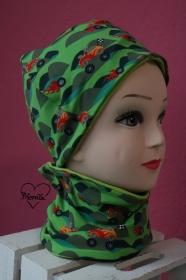 Mütze * Schal * Halssocke * Schlauchschal * Monstertruck * Jersey * grün * Set * KU ca 53/54cm - Handarbeit kaufen
