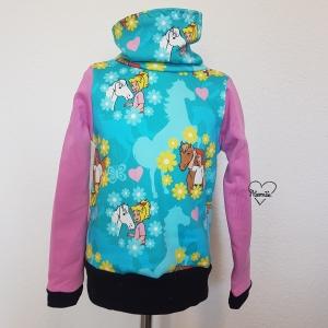Pullover mit Loopkragen * Hoodie * Sweat * Bibi & Tina * Gr.104/110 * türkis - Handarbeit kaufen