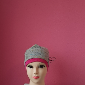 Mütze * KU ca.53-54cm * Sterne * Jersey * bunt * grau - Handarbeit kaufen