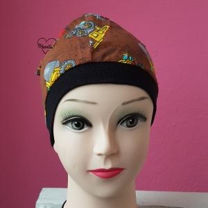 Mütze * Bagger * Baufahrzeuge * Jersey * KU ca. 51-52cm * braun * Unikat - Handarbeit kaufen