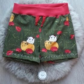 kurze Hose * Shorts * Meerschweinchen * Linus & Lina * Gr.98-104 * grün * rot * Jersey - Handarbeit kaufen