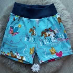 kurze Hose * Shorts * Bibi & Tina * Hürdenflitzer * Gr.98-104 * Pferde * blau * bunt * Jersey  - Handarbeit kaufen