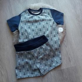 Set * kurze Hose * Shorts * Shirt * Anker * Gr.98-104 * grau * blau * Jersey * Maritim - Handarbeit kaufen