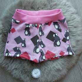 kurze Hose * Shorts * Hase * Gr.74/80 * rosa * grau * Tiermotiv * Jersey  - Handarbeit kaufen