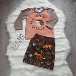 Pullover * Rock * Set * brauntöne * Igel * Gr.86/92 * L´amitié *Jersey * Unikat  - Handarbeit kaufen