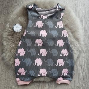 Strampler * Sommer * grau * rosa * Elefanten * Streifen * Gr.50/56 * Unikat * Jersey   - Handarbeit kaufen