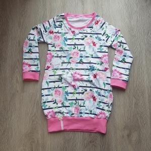 Longhoodie * Hoodie * Hoodiekleid * Gr.122/128 * Blumen * pink * Jersey * Streifen - Handarbeit kaufen