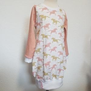 Longhoodie * Hoodie * Hoodiekleid * Gr.110/116 * Pferde * rosa * senf * weiß * Jersey - Handarbeit kaufen
