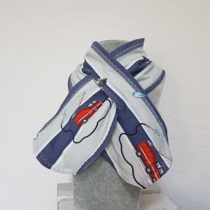 Steckschal * Schal mit Schlitz * Loop * Feuerwehr * blau * grau * 3-8 Jahre * French Terry * Herbst  - Handarbeit kaufen