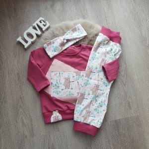 Baby Set * Hose * Pullover * Haarband * Gr. 74/80 * Bär * Jersey * Unikat * Beere * creme - Handarbeit kaufen