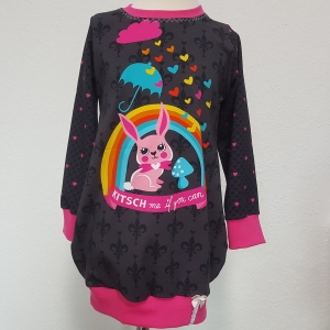 Longhoodie * Hoodie * Hoodiekleid * Gr.98/104 * Hase * Kitsch me if you can * schwarz * pink * Jersey *  - Handarbeit kaufen