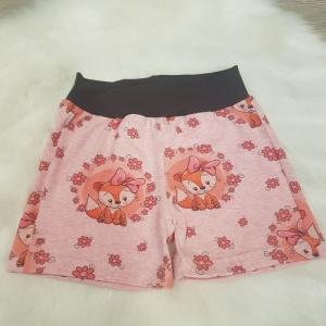 kurze Hose * Shorts * Fuchs * Gr.98/104 * Blumen * rosa * meliert * Jersey    - Handarbeit kaufen