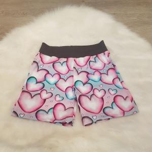 kurze Hose * Shorts * Herzen * Gr.110/116 * bunt * rosa * türkis * Jersey     - Handarbeit kaufen