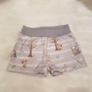 kurze Hose * Shorts * Waldtiere * Gr.86/92 * Fuchs * Bär * Waschbär * grau * Jersey     - Handarbeit kaufen