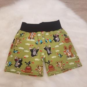 kurze Hose * Shorts * der kleine Maulwurf * Pauli * Kirschenfest * Gr.110/116 * grün * bunt * Jersey   - Handarbeit kaufen