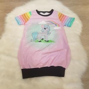 Longshirt * Shirtkleid * Gr.98/104 * Pony * Pferd * Regenbogen * bunt * Sommer * Unikat * Jersey