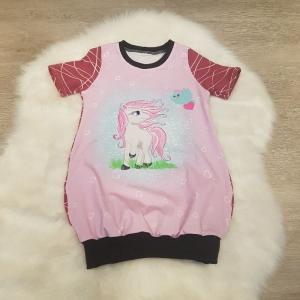Longshirt * Shirtkleid * Gr.98/104 * Pony * Pferd * Vogel * bunt * Sommer * Unikat * Jersey  - Handarbeit kaufen