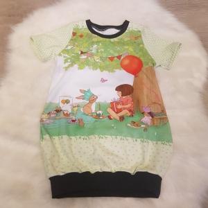 Longshirt * Shirtkleid * Gr.98/104 * Belle & Boo * Geburtstag * Party * grün * bunt * Sommer * Unikat * Jersey   - Handarbeit kaufen