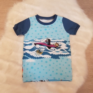 Shirt * der kleine Maulwurf * Gr.110/116 * Pauli * Sommerspaß *  blau * bunt * Sommer * Unikat * Jersey