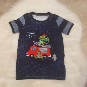 Shirt * Feuerwehr * Gr.110/116 * Drache * blau * gestreift * Sommer * Unikat * Jersey  - Handarbeit kaufen