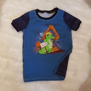Shirt * Bagger * Baustelle * Gr.110/116 * Krokodil * blau * gestreift * Sommer * Unikat * Jersey   - Handarbeit kaufen
