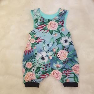 Strampler * Sommer * blau * Blumen * rosa * bunt * Gr.62/68 * Unikat * Jersey - Handarbeit kaufen