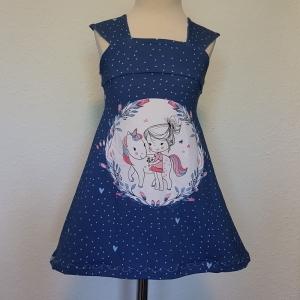 Kleid * A-Linie * Einhorn * Mädchen * Gr.98/104 * blau * Unikat * Jersey  - Handarbeit kaufen