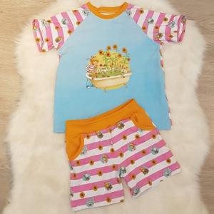 Set * kurze Hose * Shorts * Shirt * Conni * Sommer * Gr.110/116 * weiß * rosa * Jersey  - Handarbeit kaufen