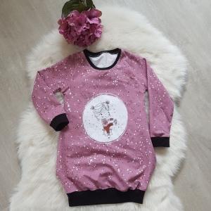 Longpullover * Hoodie * Pullikleid * Gr.110/116 * Schlittschuh Mädchen * rosa * Punkte - Handarbeit kaufen