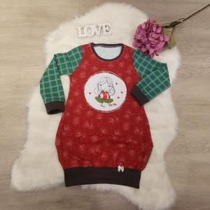 Longpullover * Hoodie * Pullikleid * Gr.110/116 *  Mädchen * Weihnachten * Advent * grün kariert * rot - Handarbeit kaufen