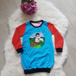 Longpullover * Hoodie * Hoodiekleid * Gr.98/104 * Heidi * blau * rot * Herbst * Jersey * Unikat  - Handarbeit kaufen
