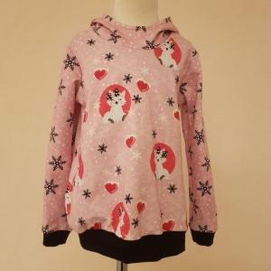 Hoodie * Gr.116 *  Fuchs * Schneeflocken * rosa * Sweat * Herbst * Unikat    - Handarbeit kaufen