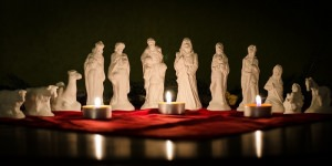 Kleine Krippenfiguren aus Gips 12 Teile