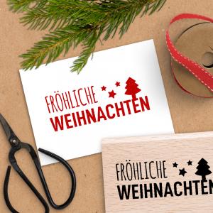 Holzstempel Schriftzug Fröhliche Weihnachten - 4x6 cm