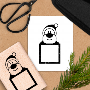 Holzstempel Weihnachtsmann mit Tafel - 6x4 cm