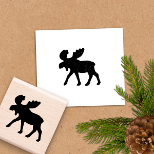 Holzstempel für Weihnachten - Elch - 4x4 cm