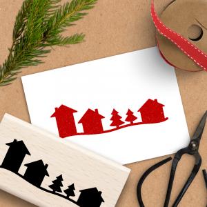 Holzstempel für Weihnachten - Landschaft Winterdorf - 4x8 cm