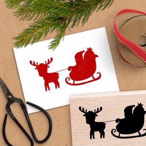 Holzstempel für Weihnachten - Rentierschlitten - 4x6 cm
