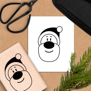 Holzstempel für Weihnachten - Weihnachtsmann - 6x4 cm