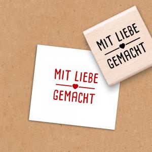 Holzstempel Mit Liebe gemacht - 4x4 cm