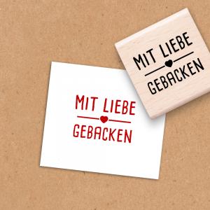 Holzstempel Mit Liebe gebacken - 4x4 cm